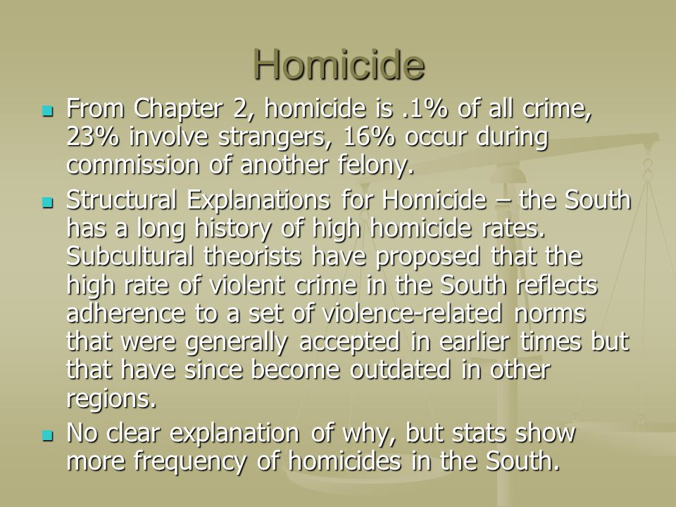 Homicide From Chapter 2, homicide is .1% of all crime, 23% involve strangers, 16% occur during commission of another felony.