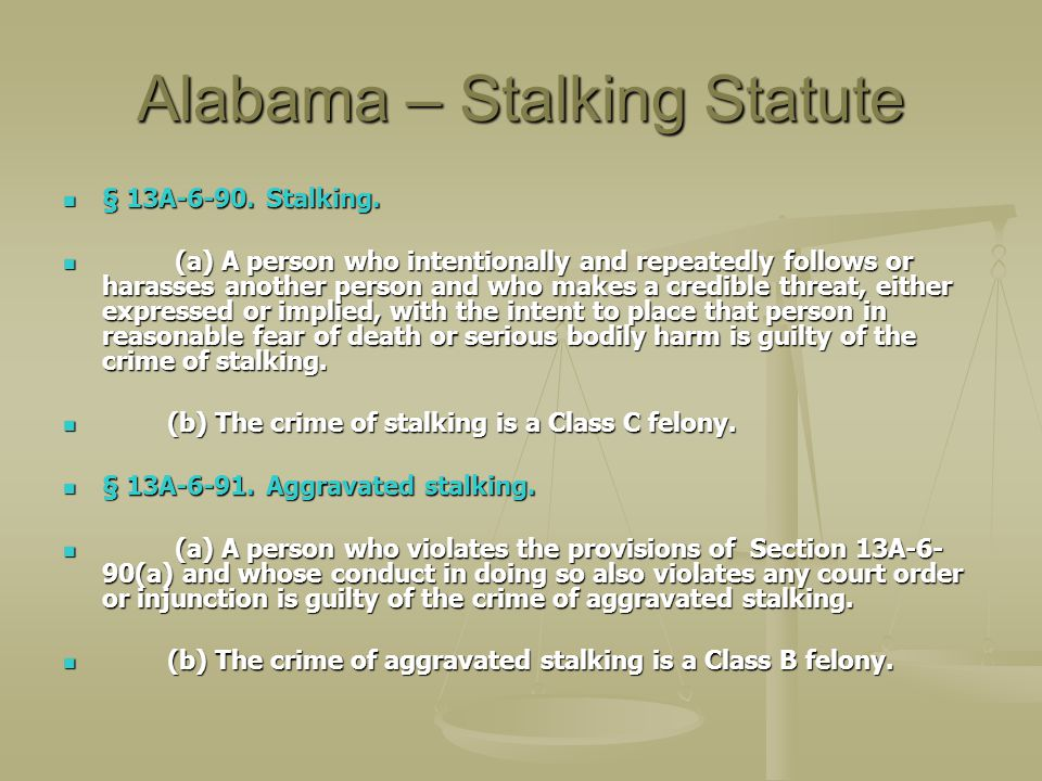Alabama – Stalking Statute