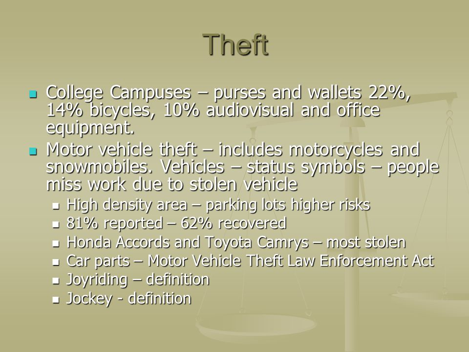 Theft College Campuses – purses and wallets 22%, 14% bicycles, 10% audiovisual and office equipment.