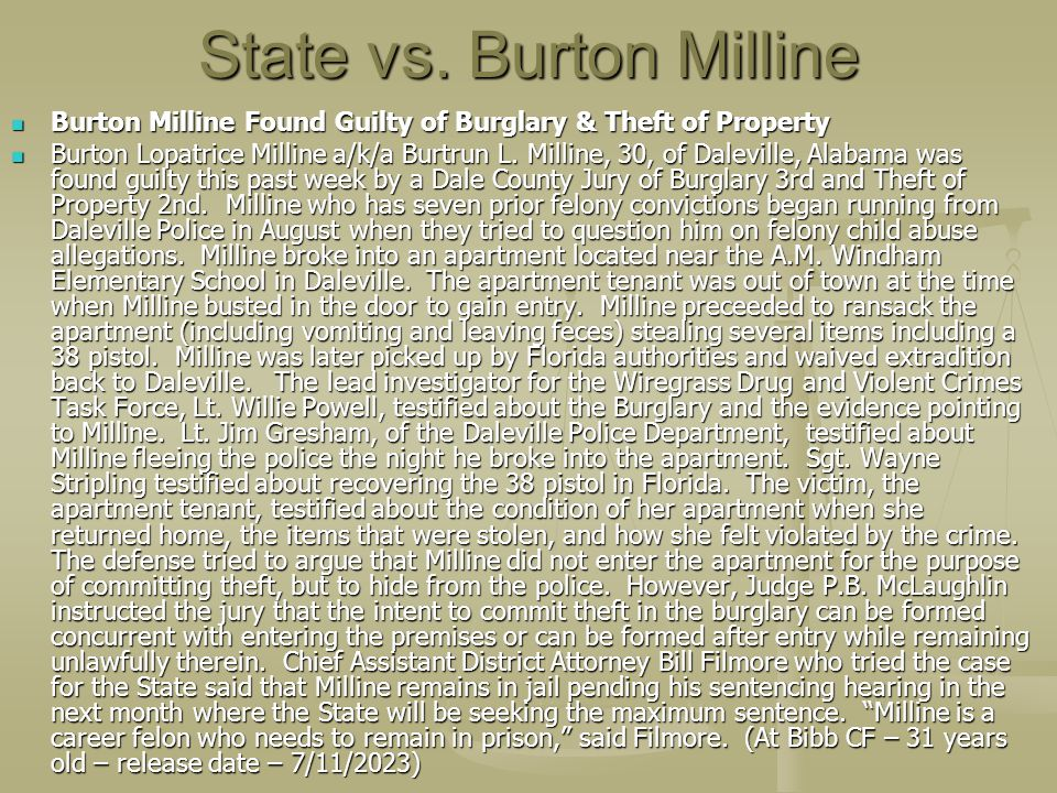 State vs. Burton Milline