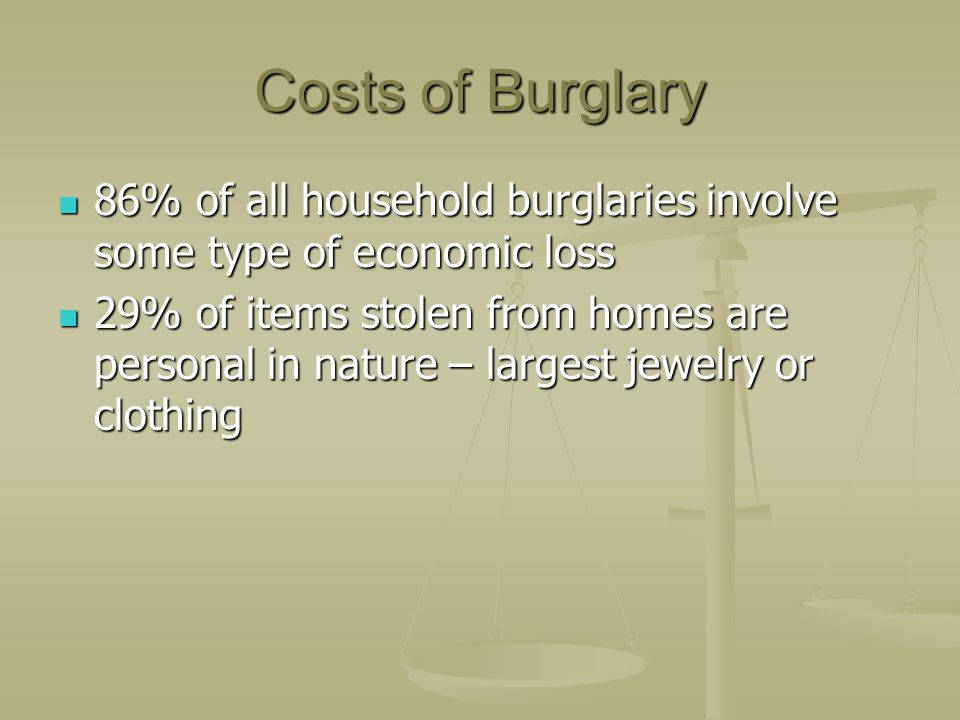 Costs of Burglary 86% of all household burglaries involve some type of economic loss.