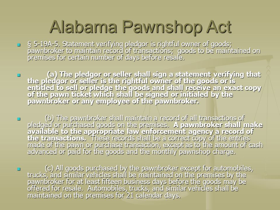 Alabama Pawnshop Act