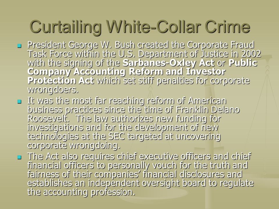 Curtailing White-Collar Crime