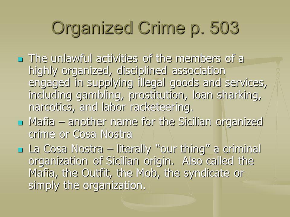 Organized Crime p. 503