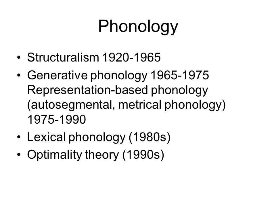Phonology Structuralism 1920-1965