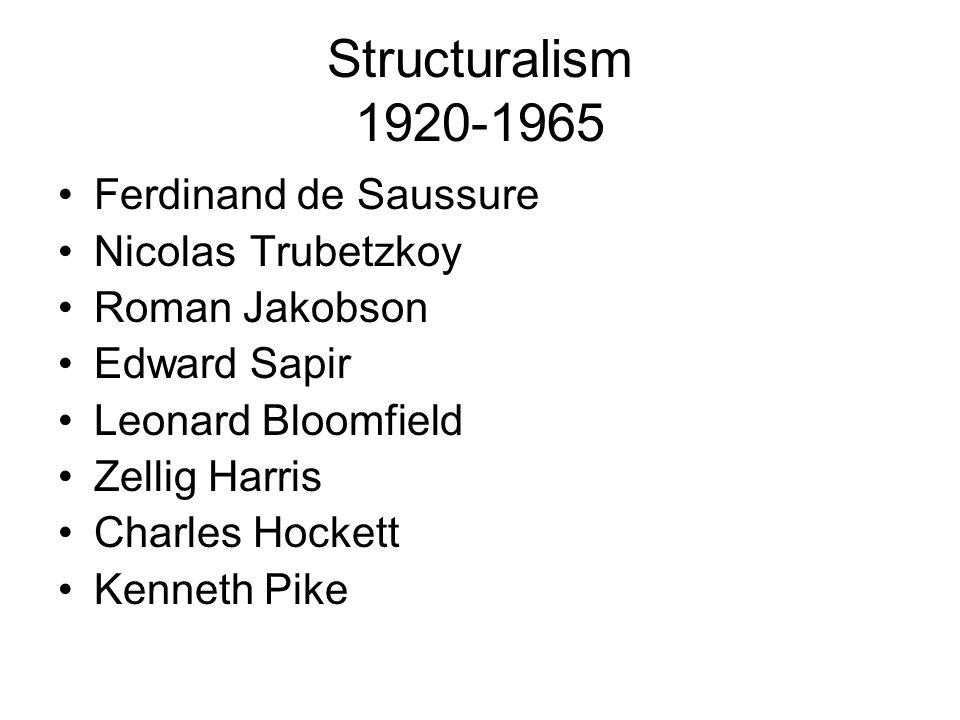 Structuralism 1920-1965 Ferdinand de Saussure Nicolas Trubetzkoy