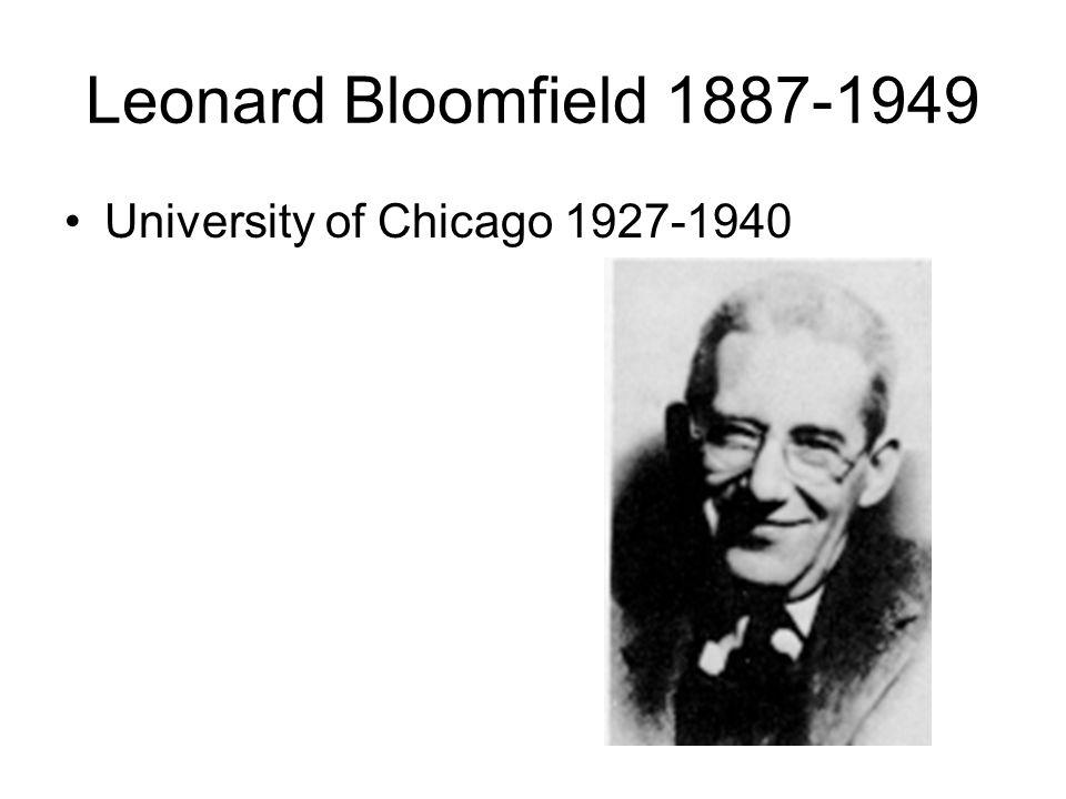 Leonard Bloomfield 1887-1949 University of Chicago 1927-1940