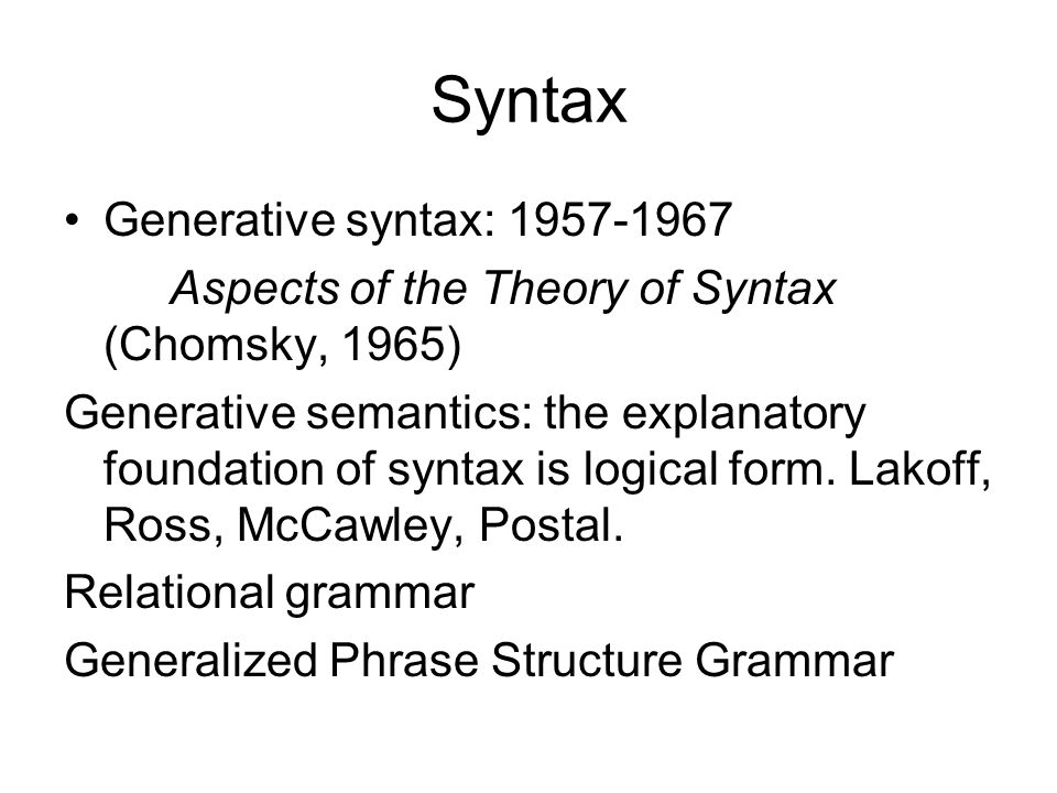 Syntax Generative syntax: 1957-1967