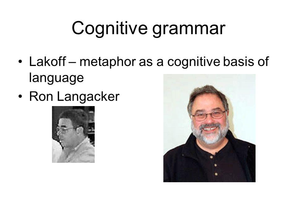Cognitive grammar Lakoff – metaphor as a cognitive basis of language