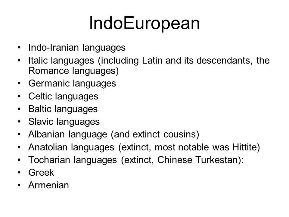 IndoEuropean Indo-Iranian languages