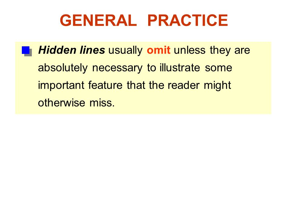 GENERAL PRACTICE Hidden lines usually omit unless they are absolutely necessary to illustrate some.
