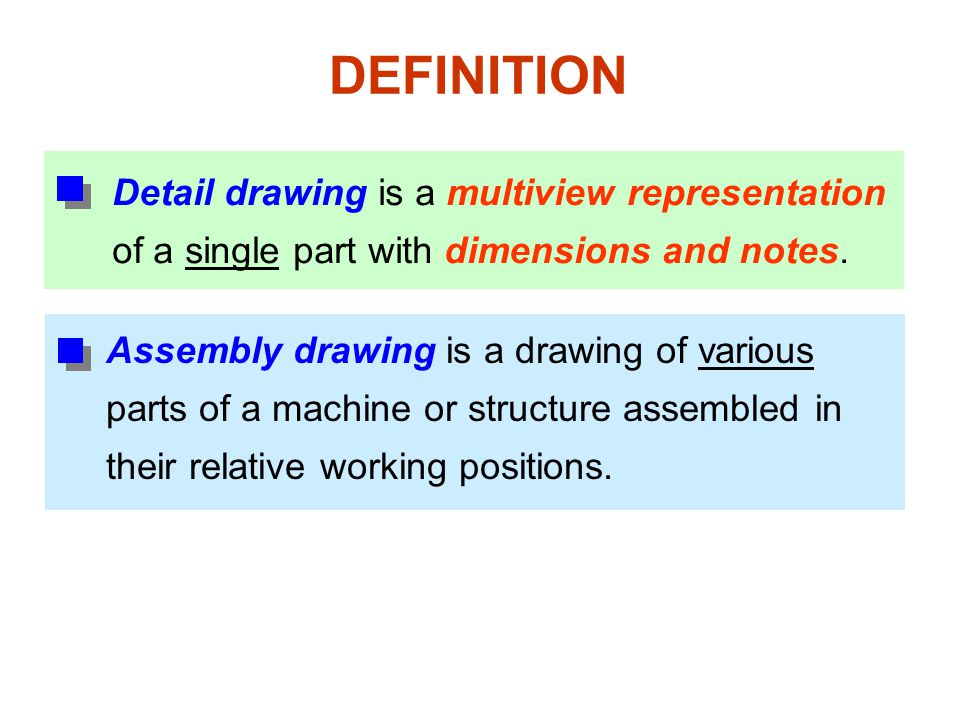 DEFINITION Detail drawing is a multiview representation of a single part with dimensions and notes.