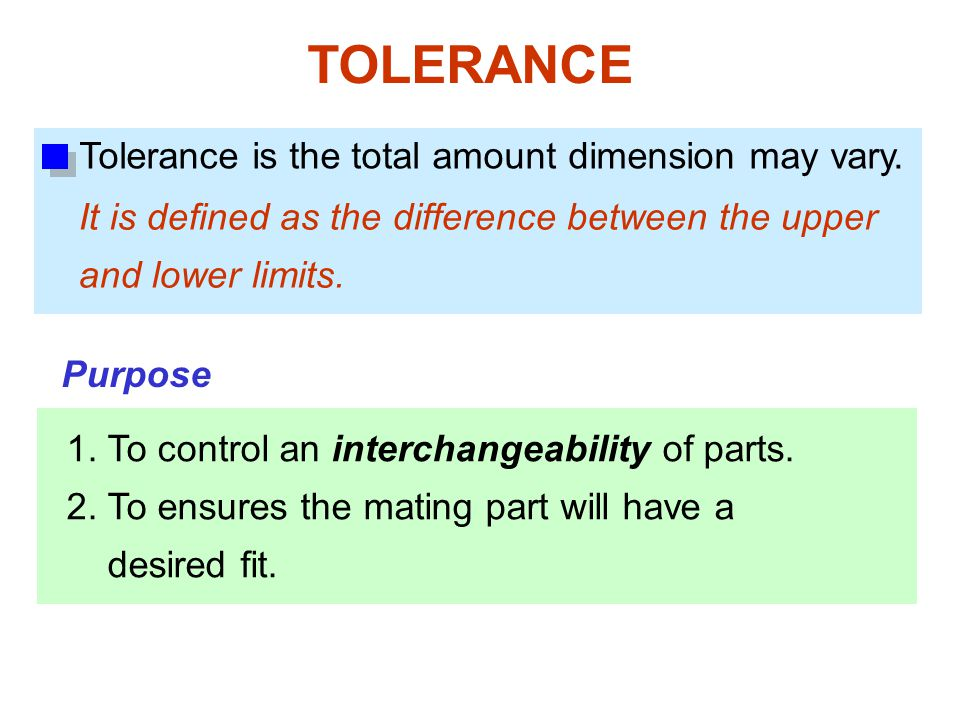 TOLERANCE Tolerance is the total amount dimension may vary.