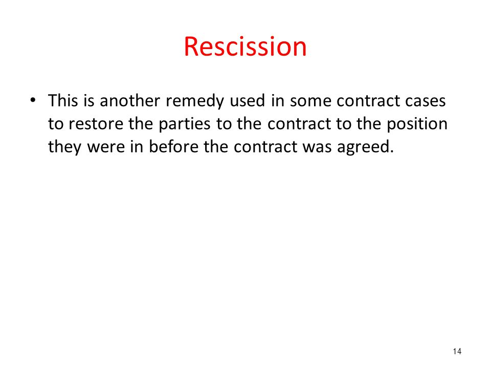 Rescission