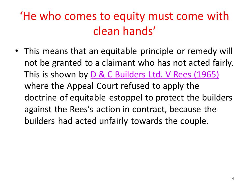 'He who comes to equity must come with clean hands'