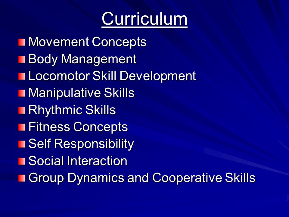 Curriculum Movement Concepts Body Management