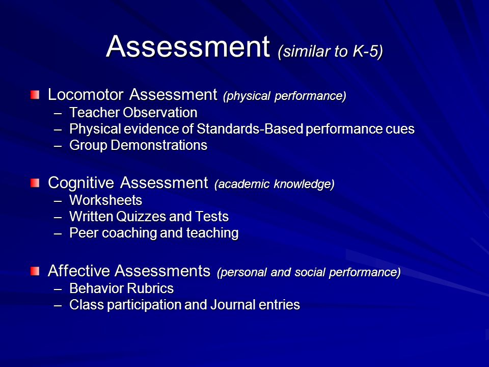 Assessment (similar to K-5)
