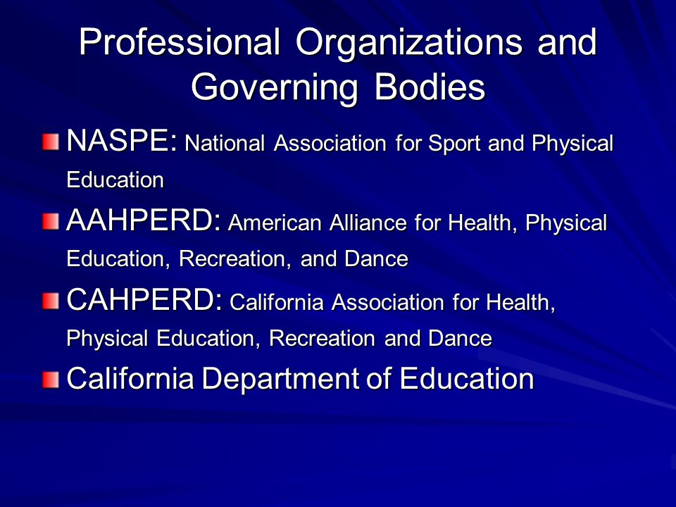 Professional Organizations and Governing Bodies