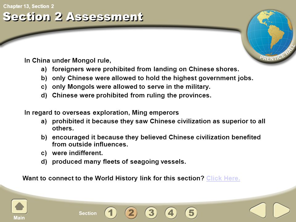 Section 2 Assessment In China under Mongol rule,
