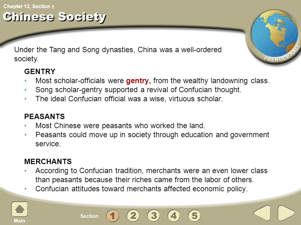 1 Chinese Society. Under the Tang and Song dynasties, China was a well-ordered society. GENTRY.