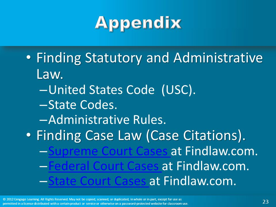Appendix Finding Statutory and Administrative Law.