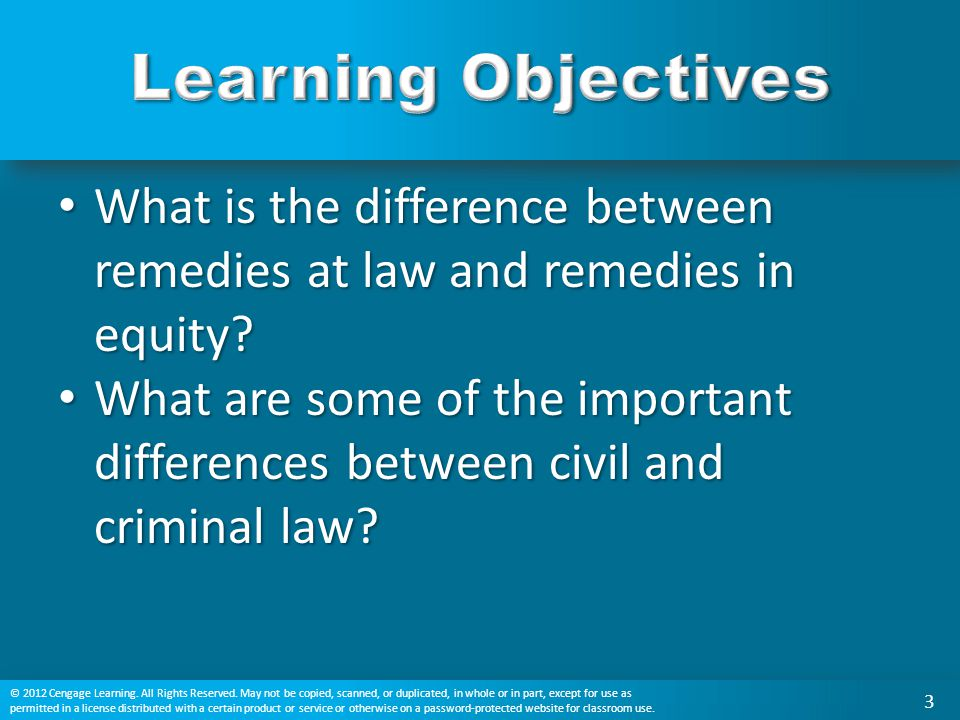 Learning Objectives What is the difference between remedies at law and remedies in equity
