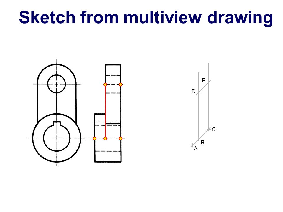 Sketch from multiview drawing