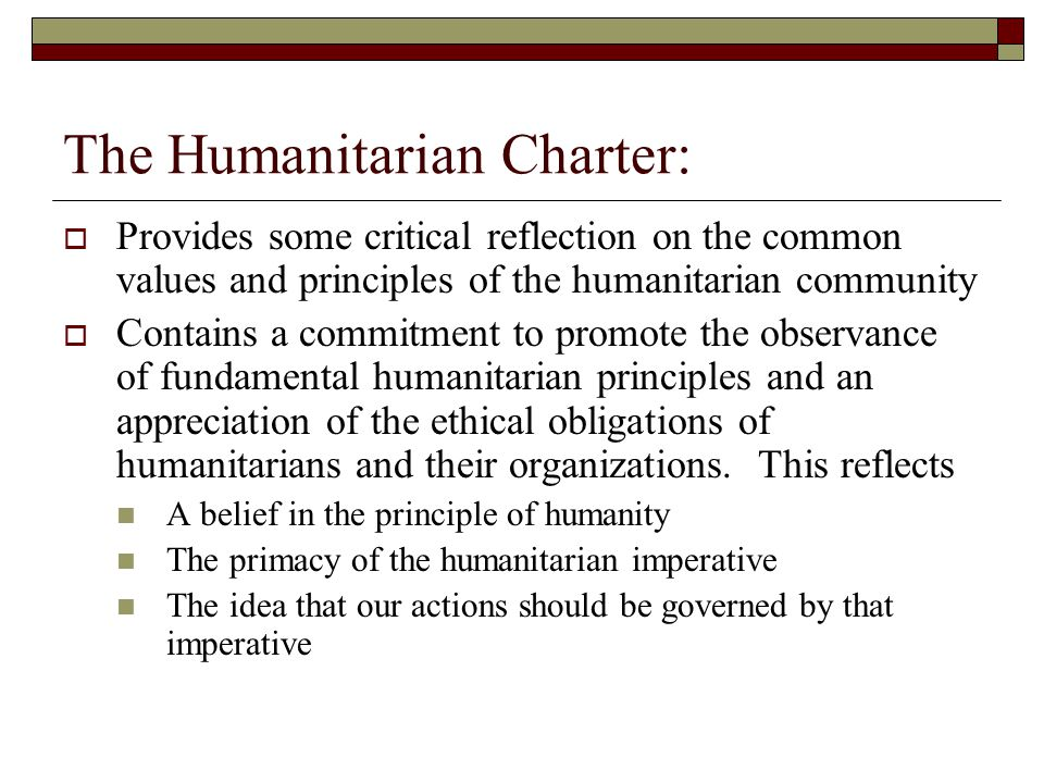 The Humanitarian Charter: