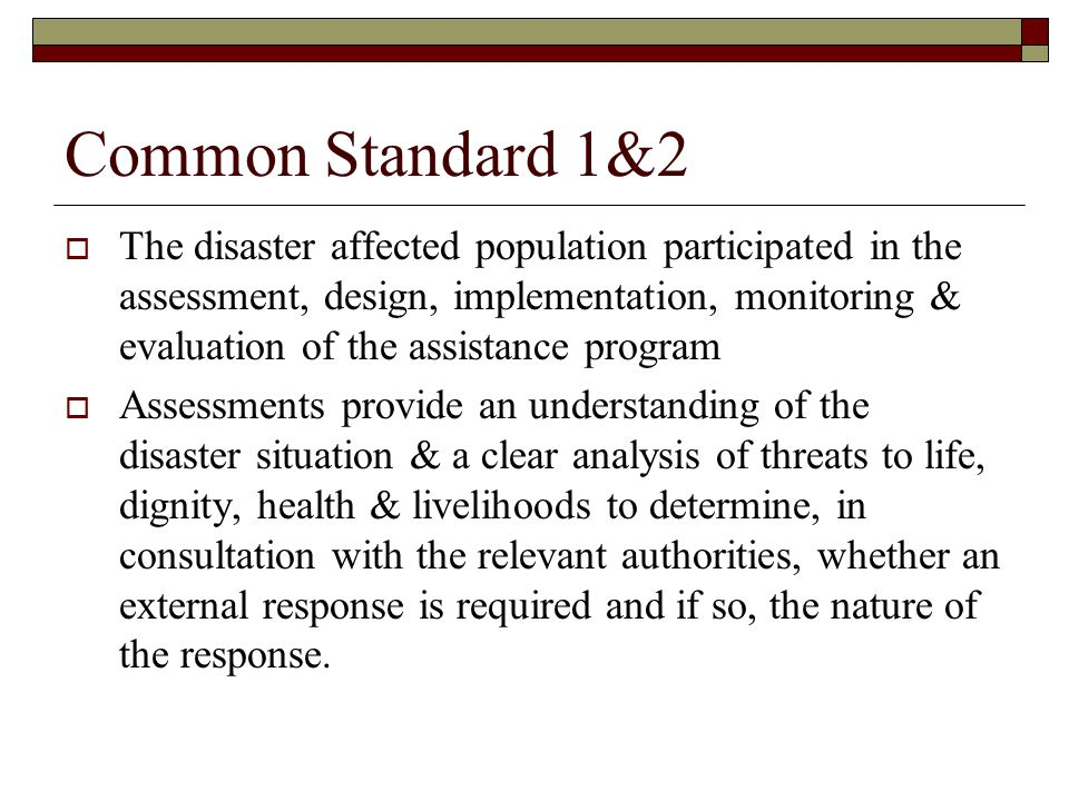 Common Standard 1&2