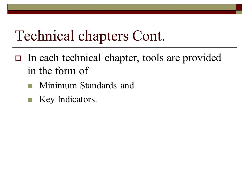 Technical chapters Cont.