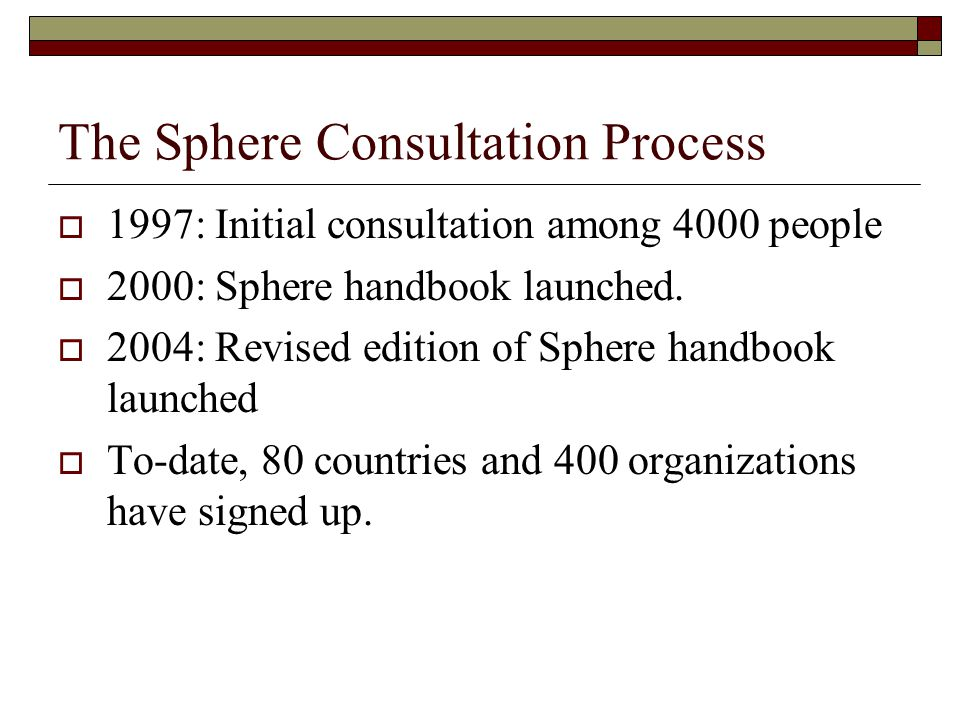 The Sphere Consultation Process