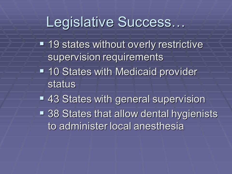 Legislative Success… 19 states without overly restrictive supervision requirements. 10 States with Medicaid provider status.