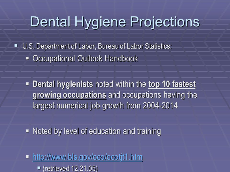 Dental Hygiene Projections