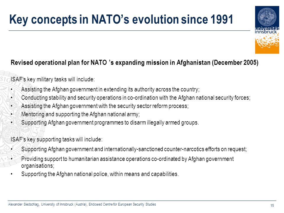 Key concepts in NATO's evolution since 1991
