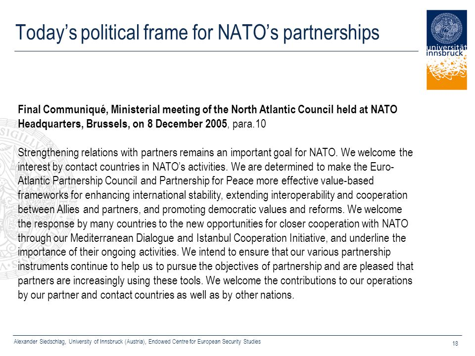 Today's political frame for NATO's partnerships