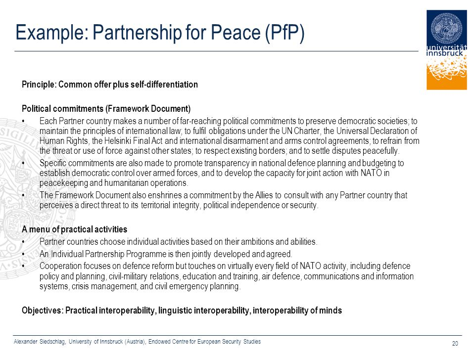 Example: Partnership for Peace (PfP)