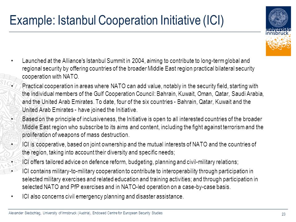 Example: Istanbul Cooperation Initiative (ICI)