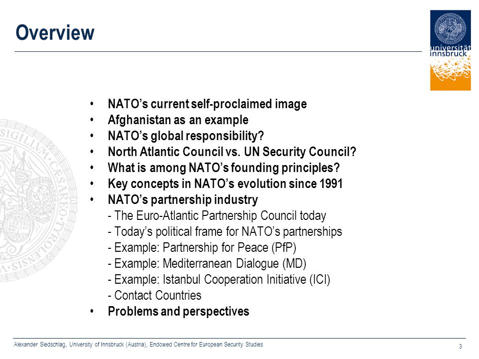 Overview NATO's current self-proclaimed image