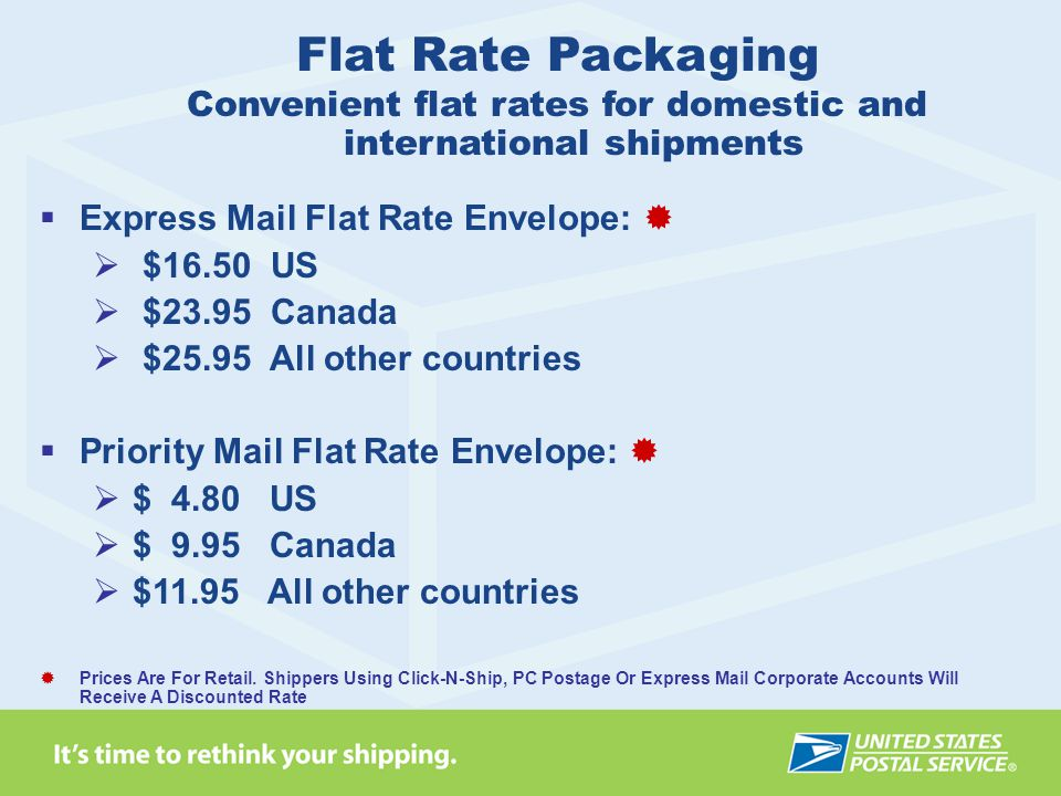 Convenient flat rates for domestic and international shipments