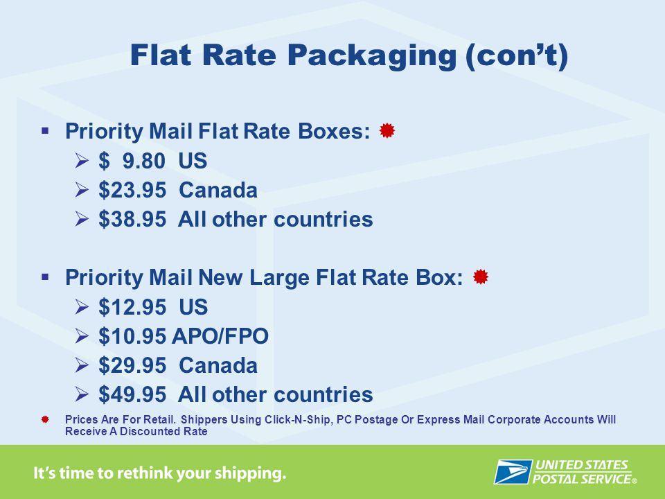 Flat Rate Packaging (con't)