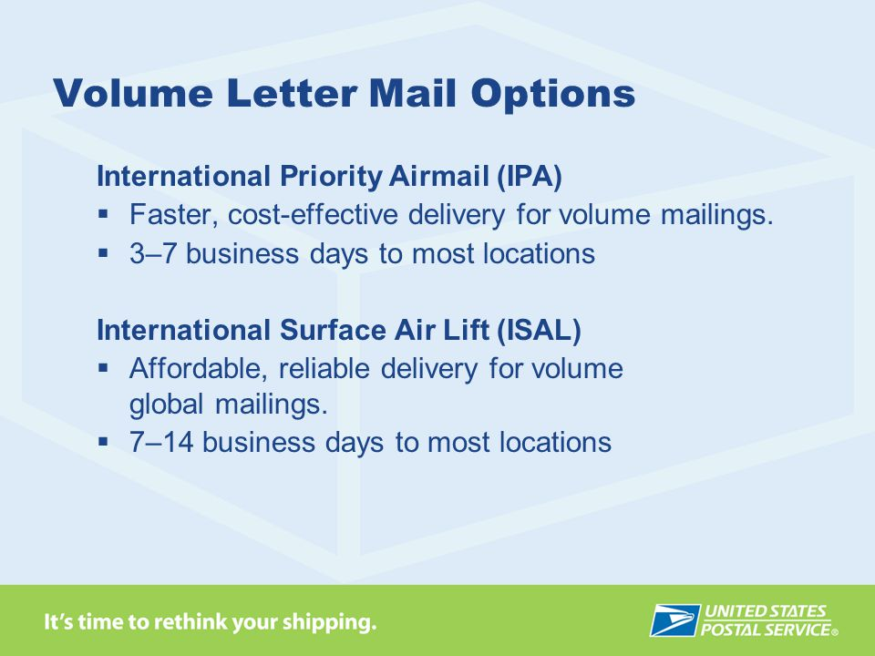 Volume Letter Mail Options