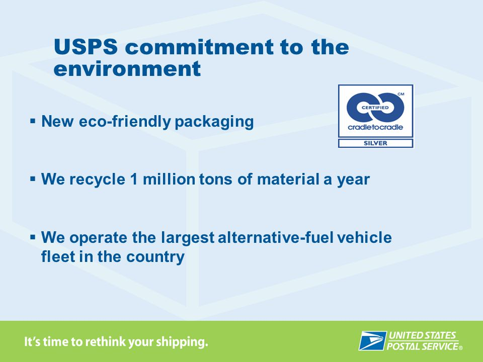 USPS commitment to the environment New eco-friendly packaging