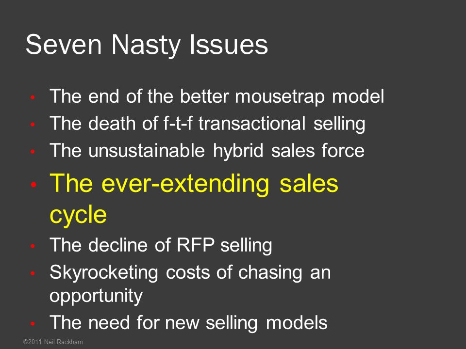 Seven Nasty Issues The ever-extending sales cycle