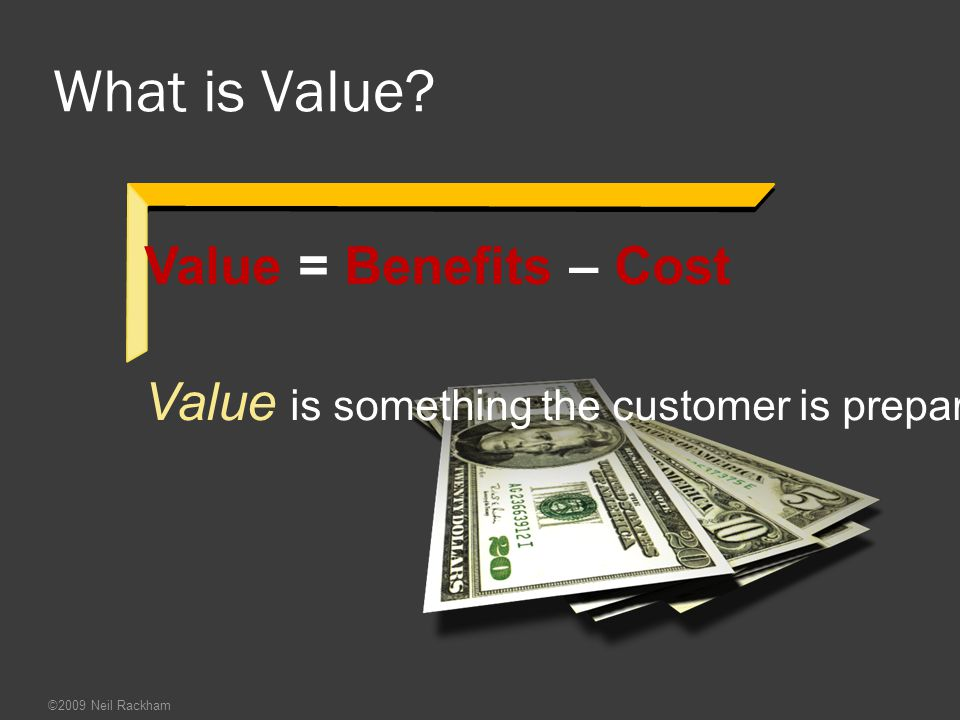 What is Value Value = Benefits – Cost