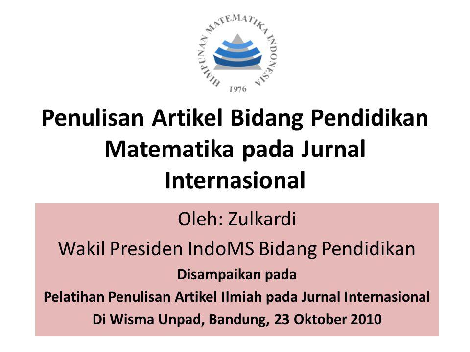 Penulisan Artikel Bidang Pendidikan Matematika pada Jurnal Internasional
