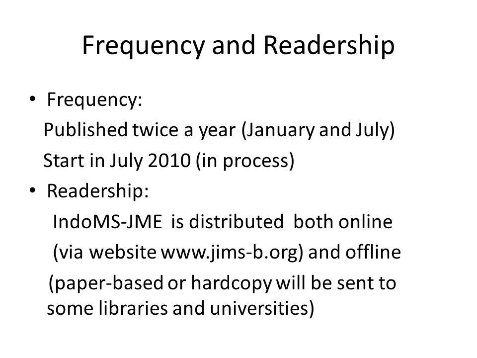 Frequency and Readership