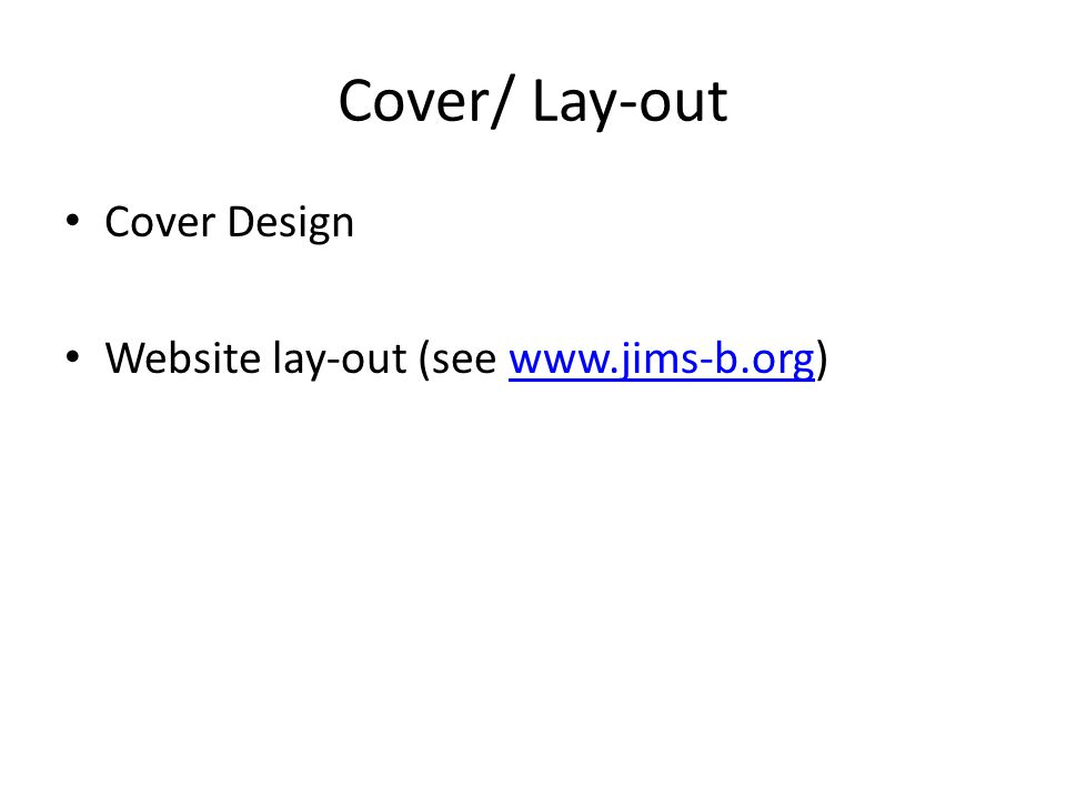 Cover/ Lay-out Cover Design Website lay-out (see www.jims-b.org)