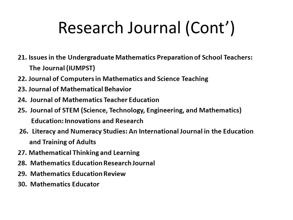 Research Journal (Cont')