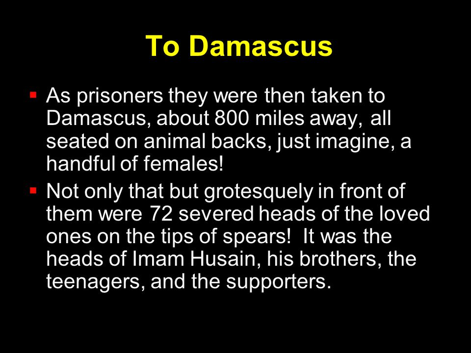 To Damascus As prisoners they were then taken to Damascus, about 800 miles away, all seated on animal backs, just imagine, a handful of females!