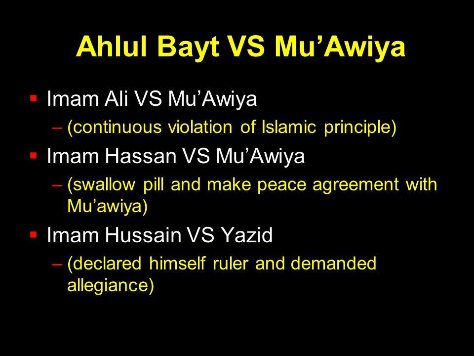 Ahlul Bayt VS Mu'Awiya Imam Ali VS Mu'Awiya Imam Hassan VS Mu'Awiya